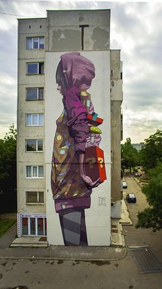 Amazing large scale sainer graffiti street art, making the urban landscape look incredible. 3d Street Art, Murals Street Art, Urban Street Art, Graffiti Murals, Amazing Street Art, Street Art Graffiti, Mural Art, Street Artists, Amazing Art