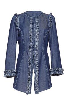 Three Quarter Length Sleeve Denim Jacket by ANDREW GN for Preorder on Moda Operandi