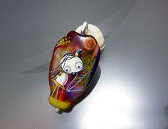 "Melanie Moertel Lampwork Beads - Handmade glass focal bead, original ""Fairy"" bead pendant with silver - ""Sparkling Tree"" on Etsy, $160.00"