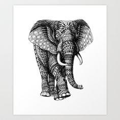 Ornate Elephant v.2 Art Print by BioWorkZ - $16.00