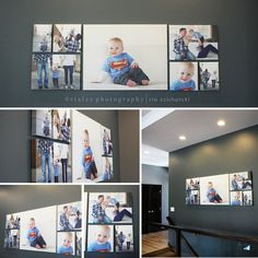Love this layout! Maybe above the couch or along the outside of the stair wall.  Fantastic Canvas Wall Collage: 28x36, (2) 21x15, (2) 12x12, (2) 8x12