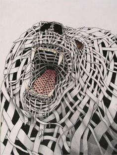 striped bear - contour wrapped animal portrait
