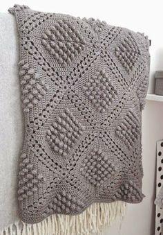 Mon Crochet : modèles gratuits: Couverture au crochet au point pop-corn - Modèle gratuit Plus