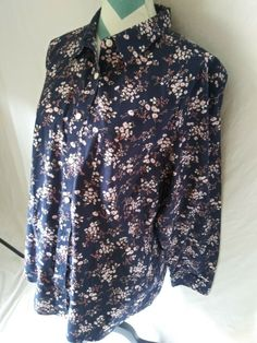 03e56f247dd3a7 LL Bean Women's Plus Size 1X Floral Button Shirt Wrinkle Resistant #LLBean # Blouse #