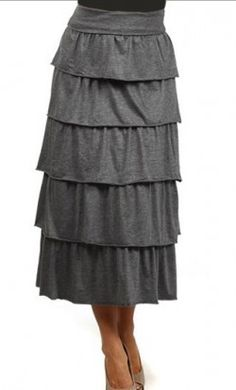 Francine tiered long skirt with elastic waistband