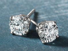 Diamond Stud Earrings in 18k White Gold (1 ct. tw.) #BlueNile