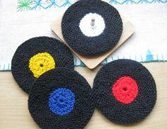 Vinyl Record Coasters (knit version) by Ellen Kapusniak