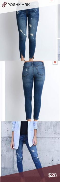NWOT Ankle Cropped Skinny Jeans New without tags // never worn // boutique skinny jeans // cotton poly spandex blend // extremely comfy and flattering // slit at ankle to allow for flex Jeans Ankle & Cropped