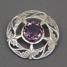Vintage Sterling Silver Brooch by Scottish designer John Hart - Iona - Hallmark Glasgow 1959 - Amethyst Glass, 925, Scotland, purple