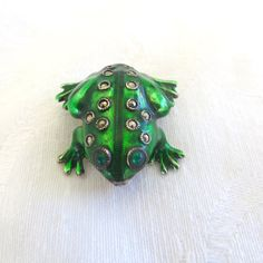 Sterling Frog Brooch, Enamel Marcasite Frog Pin, Vintage Frog Jewelry ($32) ❤ liked on Polyvore featuring jewelry and brooches