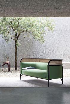 Canapé droit Targa / 3 places - L 200 cm - Cannage & tissu Tissu gris / Noir - Wiener GTV Design