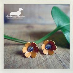Tangerine Petals Daisy Flower Post Earrings  by PickleDogDesign, $6.50