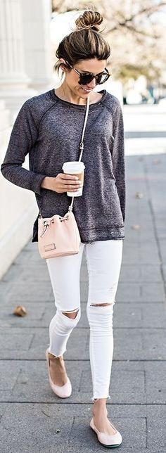#casualoutfits #spring   Dark Grey Tee + White Ripped Denim + Pop Of Pink  Hello Fashion