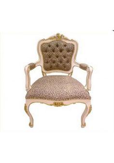 Cadeira Luis xv meio dourada com capitonês no encosto