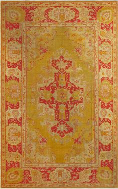 Antique Oushak Carpet | From a unique collection of antique and modern turkish rugs at https://www.1stdibs.com/furniture/rugs-carpets/turkish-rugs/