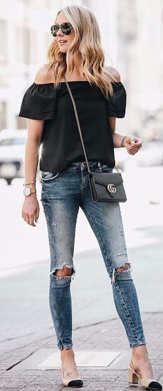 street style perfection rips + off shoulder