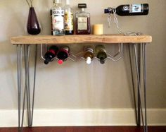 Wine Rack Reclaimed Wood Industrial Pipe Leg Salvaged von DendroCo