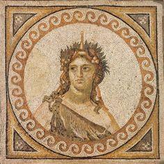 Floor mosaic fragment depicting Bacchus, Roman, 325-330 CE. Limestone tesserae 46 1/4 × 46 1/4 in 117.5 × 117.5 cm RISD Museum.