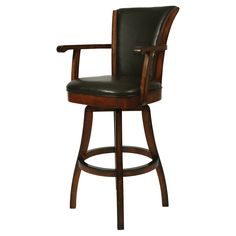Pastel Glenwood Swivel Bar Stool with Arms - Russet Cordovan | from hayneedle.com