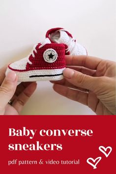 Digital pattern includes pdf description with photos and video tutorial with subtitles. Inspired by Converse, this crochet pattern of baby booties makes a great and memorable pregnancy gift, baby shower gift, fashion baby outfit.#crochetpattern#crochetbabyshoes#babybooties Baby Patterns, Crochet Patterns, Baby Converse, Nana Gifts, Pregnancy Gifts, Crochet Baby Booties, Crochet For Beginners, Free Baby Stuff, Digital Pattern