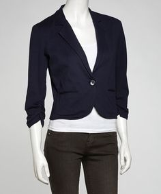 Take a look at this Navy Crop Blazer by Survival on #zulily today!  $34.99, regular 83.00