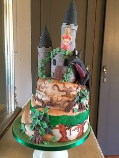 Sleeping beauty party! #Dragon #princesscastlecake #woodland hand painted at the manor Yeovil