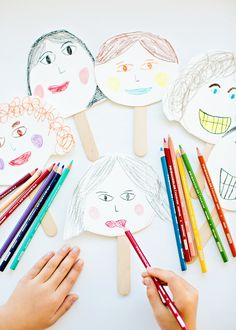 Kid-Made Friends and Family Stick Portraits. So fun for kids to draw their favorite people and make puppets! This is a great indoor activity that could keep the kids busy for hours.  Even little kids could do it!  Find @pinprismacolor pencils and markers at @michaelsstores - be sure to check out @michaelsstores coupons for additional savings.  Coloring with Michaels is easy!!  #relaxandcolor ad