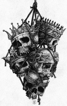 Эскиз черепов с коронами