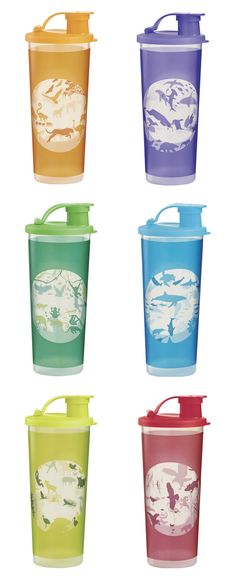 Eco Tumblers Set. Set of six 16-oz./470 mL tumblers with liquid-tight seals and flip-top spouts. Each tumbler features wildlife from around the world.