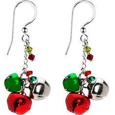 Handcrafted Holiday Jingle Bell Earrings MADE WITH SWAROVSKI ELEMENTS #holiday #earrings #bodycandy #stockingstuffer $12.99