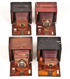 Group of Four Rochester Optical Company Folding Plate Cameras including Premo D, Premo A (Leather cover has been removed), Reko and Premo D. Provenance: The Kaprelian Camera Collection, Philadelphia, PA. Plate Camera, Box Camera, Camera Gear, Field Camera, Folding Camera, Fine Art Auctions, Philadelphia Pa, Vintage Cameras, Photography Equipment