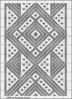 Diamonds and triangles. - from: Medieval Egyptian Pattern Darning,   Graphed by Rosemary Stecher (Mathilde Eschenbach) from a sampler shown in  Humphrey, Carol. Fitzwilliam Museum Handbooks: Samplers. Cambridge University Press, 1997.