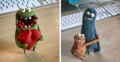 Cute Polymer Clay, Fimo Clay, Polymer Clay Projects, Cardboard Sculpture, Paper Mache Sculpture, Paper Mache Clay, Clay Art, Clay Animation, Clay Monsters