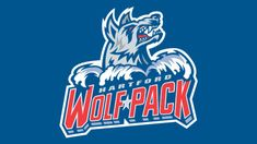 Meaning Hartford Wolf Pack logo and symbol American Hockey League, Hockey Logos, Ice Hockey, Balls, Wolf, Old Things, History, Colors, Sports