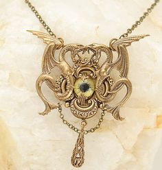 Steampunk Necklace Winged Serpents Evil Eye Vintage Victorian Inspired Yellow Gothic Jewelry Unisex