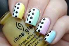 Nails by Kayla Shevonne: Pastel Skittles and Black & White Polka Dots