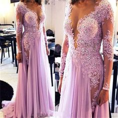 Long Sleeves Lace Sexy Modest Party Cocktail Evening Long Prom