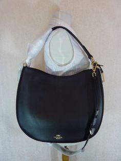 e493520e5a Coach F36026 Nomad Hobo Large Black Glovetanned Leather Bag Handbag for sale  online