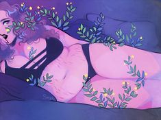 Star Flowers - x Glossy Print Pinup Beauty Illustration, Composition Photo, Self Portrait Drawing, Vogel Tattoo, Plus Size Art, Anime Sensual, Foto Art, Aesthetic Art, Art Girl