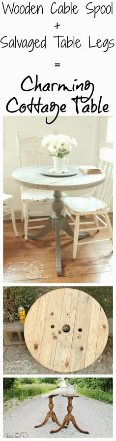 Love the chippy chairs. DIY :: Cozy Cottage Table from Wooden Cable Spool Repurposed Legs ! via Knick of Time Cable Spool Tables, Wooden Cable Spools, Wood Spool, Furniture Projects, Furniture Making, Furniture Makeover, Furniture Design, Repurposed Furniture, Painted Furniture