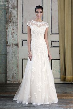Style 9782  Beaded Venice lace and tulle Slim A-line accented with a sabrina neckline.