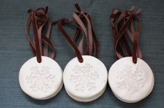 been wanting to try stamped paperclay ornaments - these are fimo - look good too!