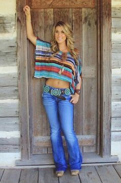 Love the Serape Style top and that gorgeous belt!! Boho style