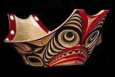Dogfish Canoe Bowl- ©Corey Moraes 2007  Alder, acrylic paint, opercula shells