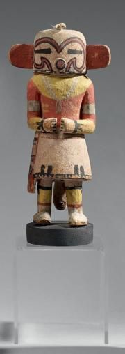 KACHINA Muzribi ou Bean Kachina Hopi, Arizona, Cottonwood, pigments, vers 1920 Ht 21 cm