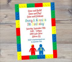 LEGO birthday invitation for Twins by SevenStoryMountain on Etsy, $12.00