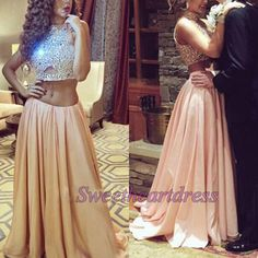 Dresses evening, two pieces senior prom dress, sparkly blush pink chiffon ball gown for teens sweetheartdress.s... #coniefox #2016prom