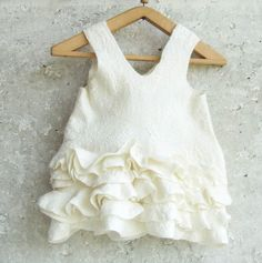 White baby dress felted ivory wool ruffles eco friendly by Baymut