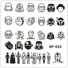nail stamping plates cartoon stamping plate SP design nail art image plate Equipment Stamp Stamping Plates Manicure Template Nail Stamping nail stamping with foil Star Wars Tattoo, Star Tattoos, R2d2 Tattoo, Lightsaber Tattoo, Game Tattoos, Batman Tattoo, Bijoux Star Wars, Star Wars Jewelry, Star Wars Icons