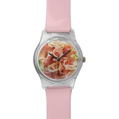 Many pink roses wristwatch #watch, #girly, #roses, #floral, #pink, #customizablewatchband